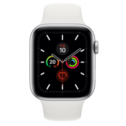Watch Series 5 GPS, 44mm Silver Aluminium Case with White Sport Band - S/M & M/L