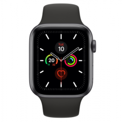 Watch Series 5 GPS, 44mm Space Grey Aluminium Case with Black Sport Band - S/M & M/L