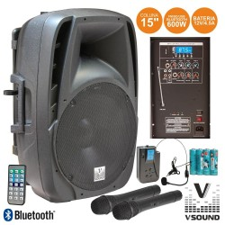 "Coluna Amplificada 15"" 600W USB/BT/SD/FM/Bat Vhf VSOUND"