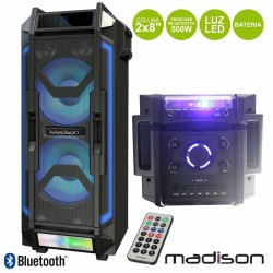 "Coluna Amplificada 2x8"" 500W FM/USB/BT/Bat LEDS Madison"