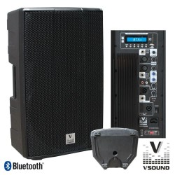 "Coluna Bi-Amplificada PRO 15"" USB/SD/FM/BT 700W VSOUND"