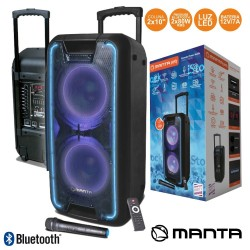 "Coluna Bluetooth Portátil 2x10"" 160W USB/BT/Aux/Bat LED RGB"