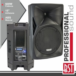 "Coluna Amplificada Pro 15"" 600W Mp3 USB/FM/SD/BT Abs BST"