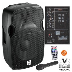 "Coluna Amplificada 12"" USB/BT/SD/BAT MIC s/Fios VSOUND"