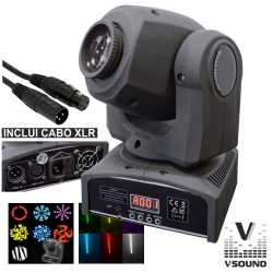 Moving Head 1 LED 12W Luminus 7 Gobos Spot DMX Mic VSOUND