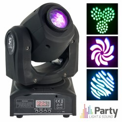 Moving Head Mini 1 LED CREE Branco 10W Gobo DMX Mic PARTY
