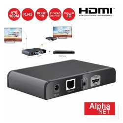 Receptor HDMI Loop Via RJ45 CAT6 100m P/ Ct375/9 Alphanet