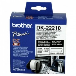 Rolo de Papel Original Brother DK22210 Contínuo Autocolante (Branco)